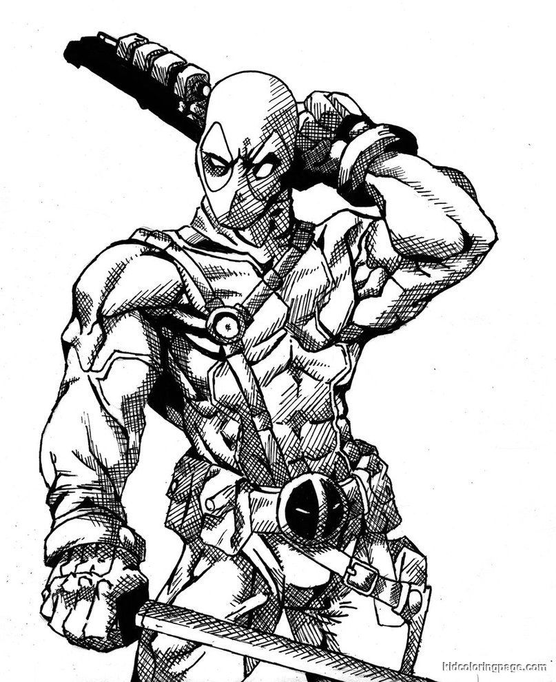 Marvel Deadpool printable coloring page DEADPOOL Pinterest