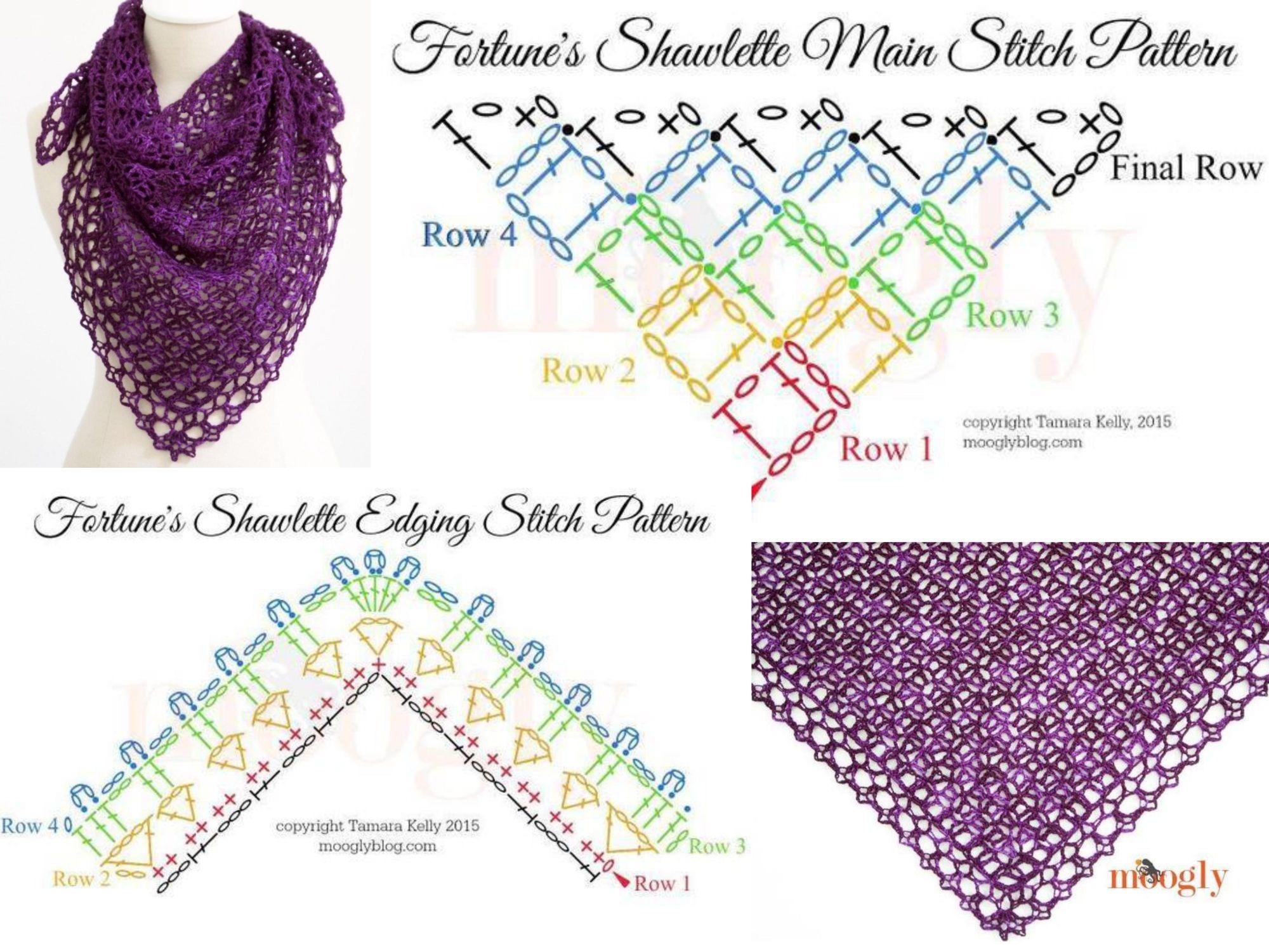 Fortune\'s Shawlette | Bufandas, scarfs | Pinterest | Diagram ...
