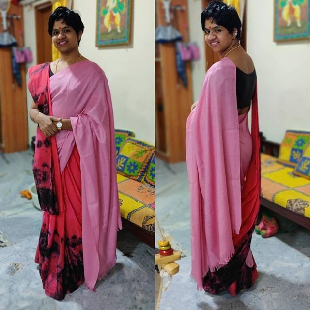 Two pallus! Love how she paired a shawl and saree to ...