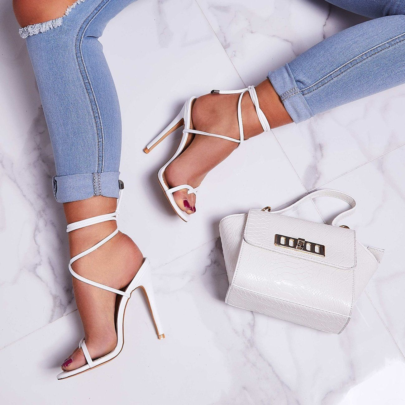 Rochelle Lace Up Barely There Heel In White Faux Leather Ego Heels Ego Shoes White Faux Leather