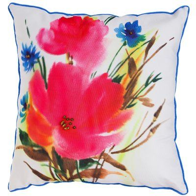 August Grove® Lola Botanical Mix Watercolor Floral Indoor/Outdoor Throw Pillow