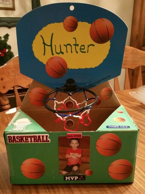 Basketball Valentine S Day Box We Covered This Box In Card Stock Added A Goal From The Local Do Valentine Day Boxes Valentine Box Basketball Valentine Boxes