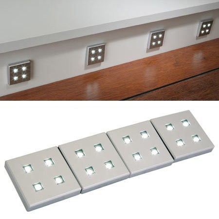 Warm White Cool White Blue 8x Square Kitchen LED Plinth Light Kit