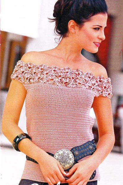 e8a91b4ca4e9a4 Top with Off-shoulder lace strap crochet pattern.