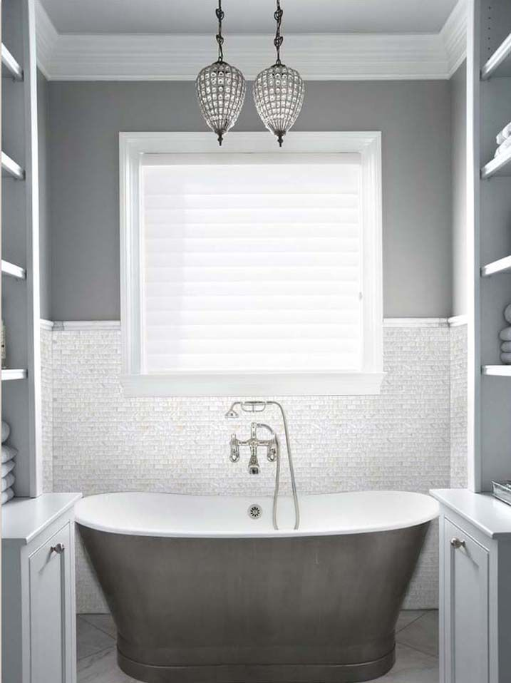 Mother Of Pearl Mosaic Tile Gray Bathroom Walls White