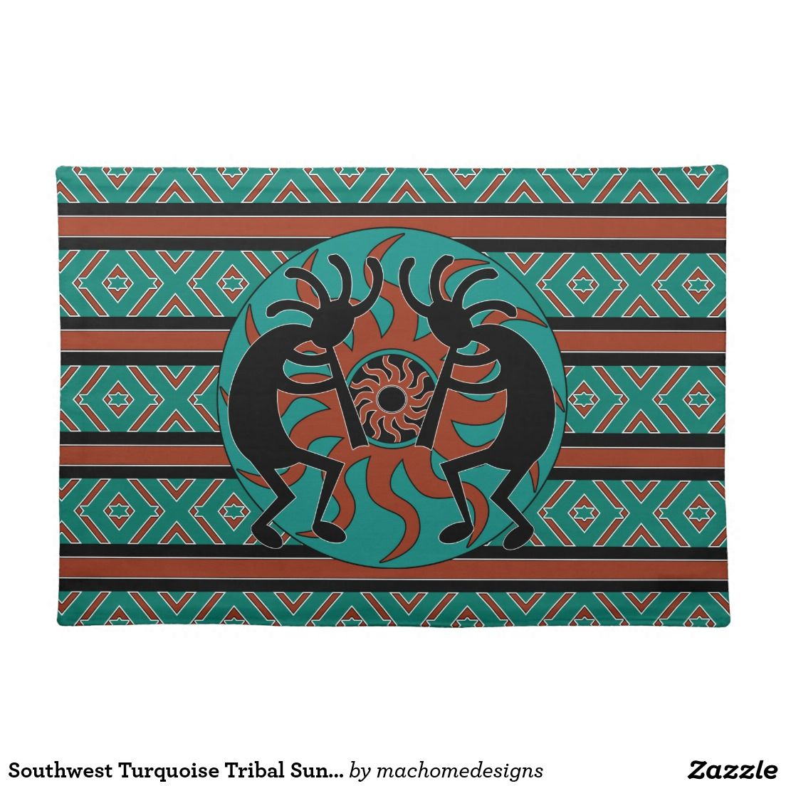 Southwest Turquoise Tribal Sun Kokopelli Placemat Cloth Placemat