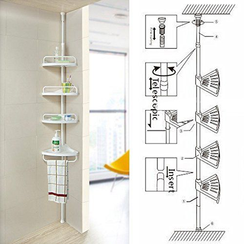 Non Rust Bathroom Telescopic Corner Shelf Storage 4 Tier Shower Caddy Organiser White Blue Canyon Http Www Amazon Co Shelves Shower Shelves Corner Shelves