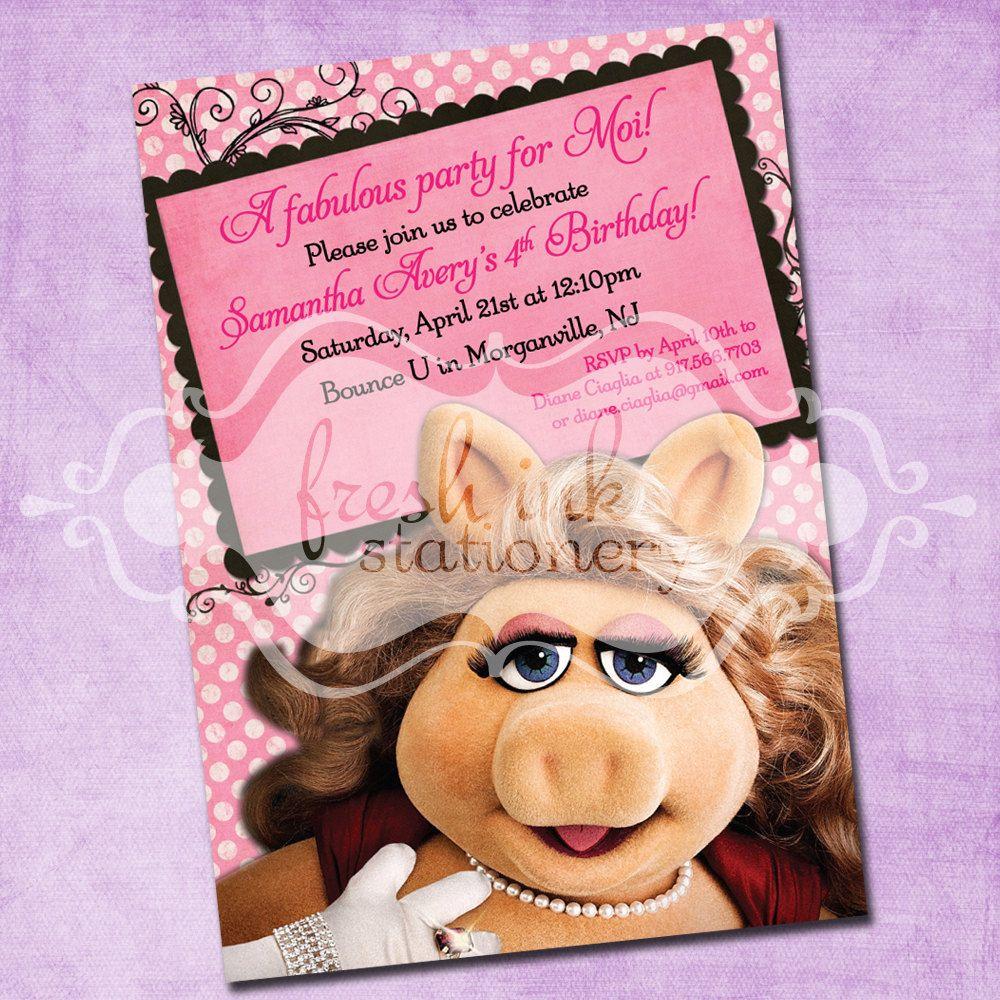 miss piggy birthday invitation by freshinkstationery on etsy