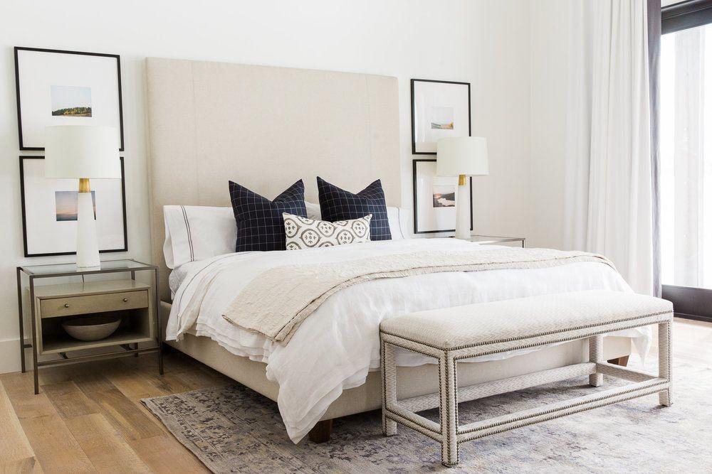 Modern Mountain Home Tour Master Wing Respaldo cama, Camas - camas modernas