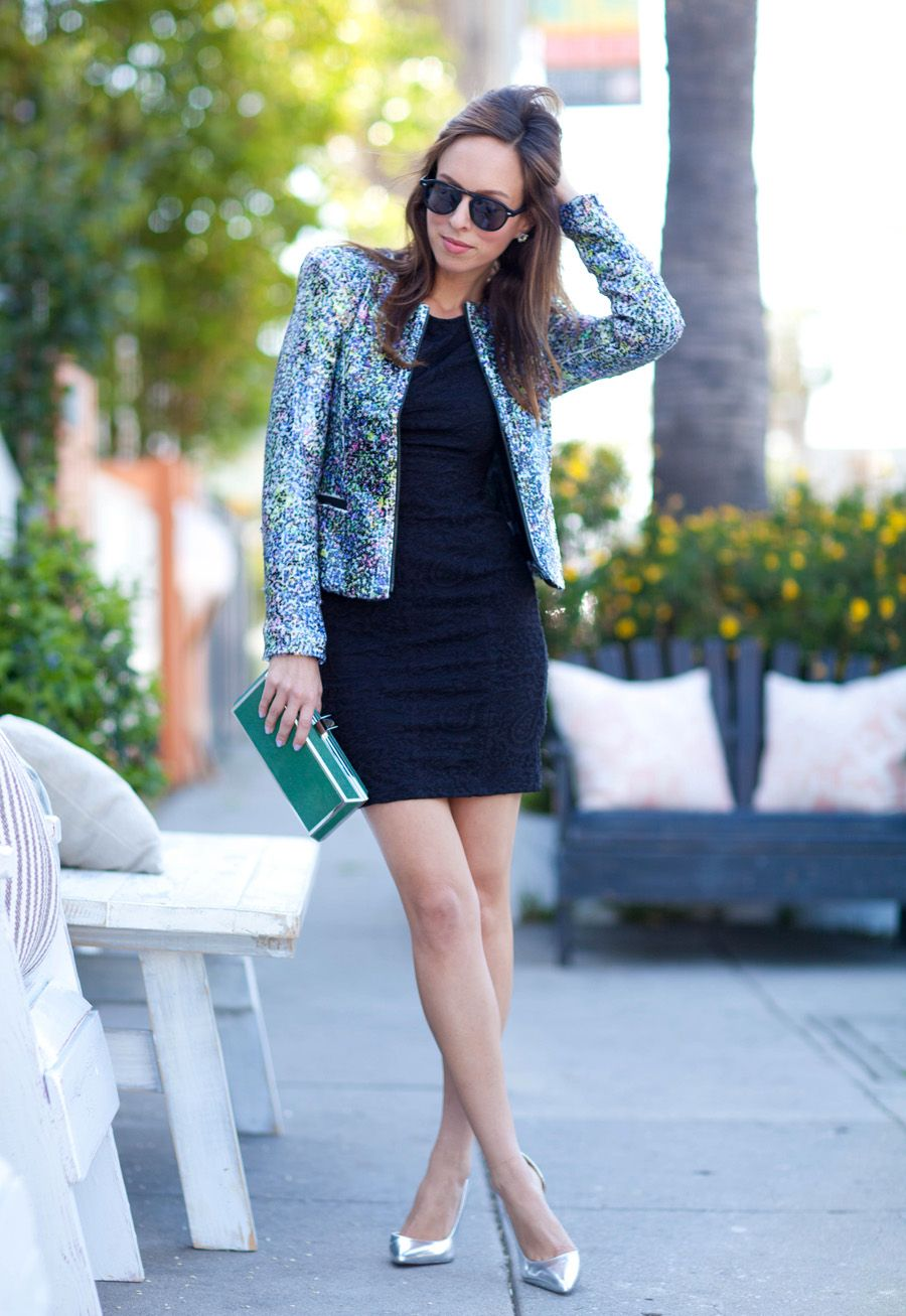 Black dress jean jacket - Sydne Style Joes Jeans Sequin Jacket Little Black Dress Silver Heels Stelle Audio Clutch