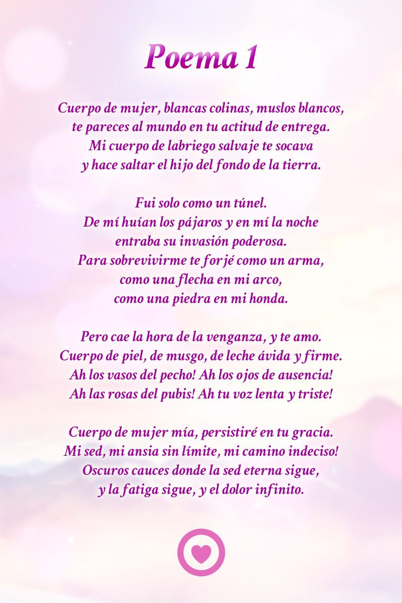 Poema 1 Pablo Neruda Poemas Poemas De Amor Y Poemas De