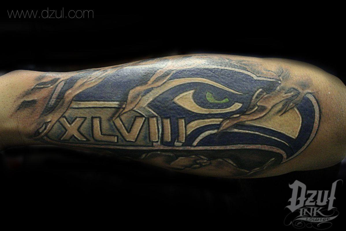 custom seahawk tattoo love this full color custom 12th man tattoo forearm sport tattoo custom. Black Bedroom Furniture Sets. Home Design Ideas