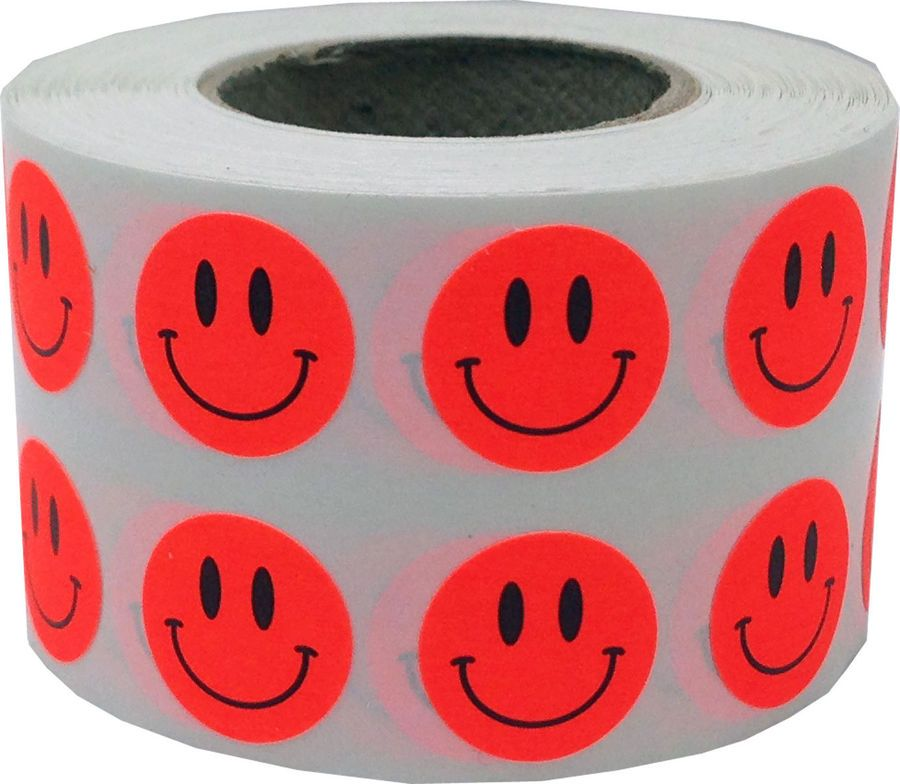 Smiley Face Circle Dot Stickers, 1/2 Inch Round, 1000 per