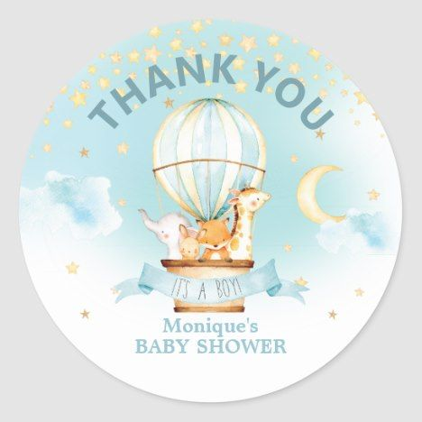 Hot Air Balloon Animals Baby Shower Thank Favors Classic Round Sticker | Zazzle.com