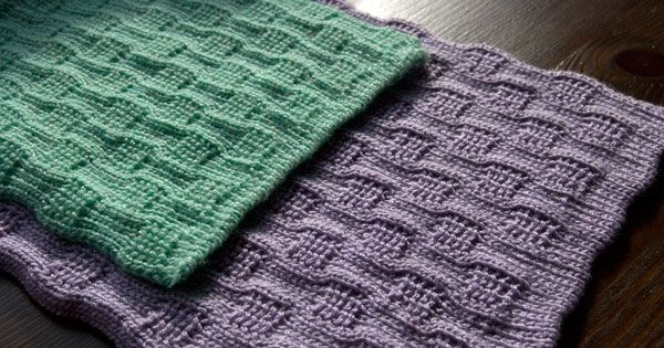 Machine Knit Baby Blanket Pattern : Free Knitting Patterns for Beginners Passap Tuckerboard Tuck Stitch Reversi...