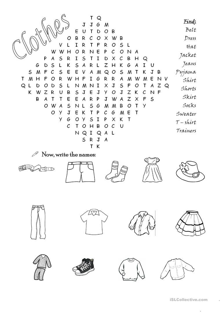 Clothes wordsearch worksheet - Free ESL printable worksheets made by ...