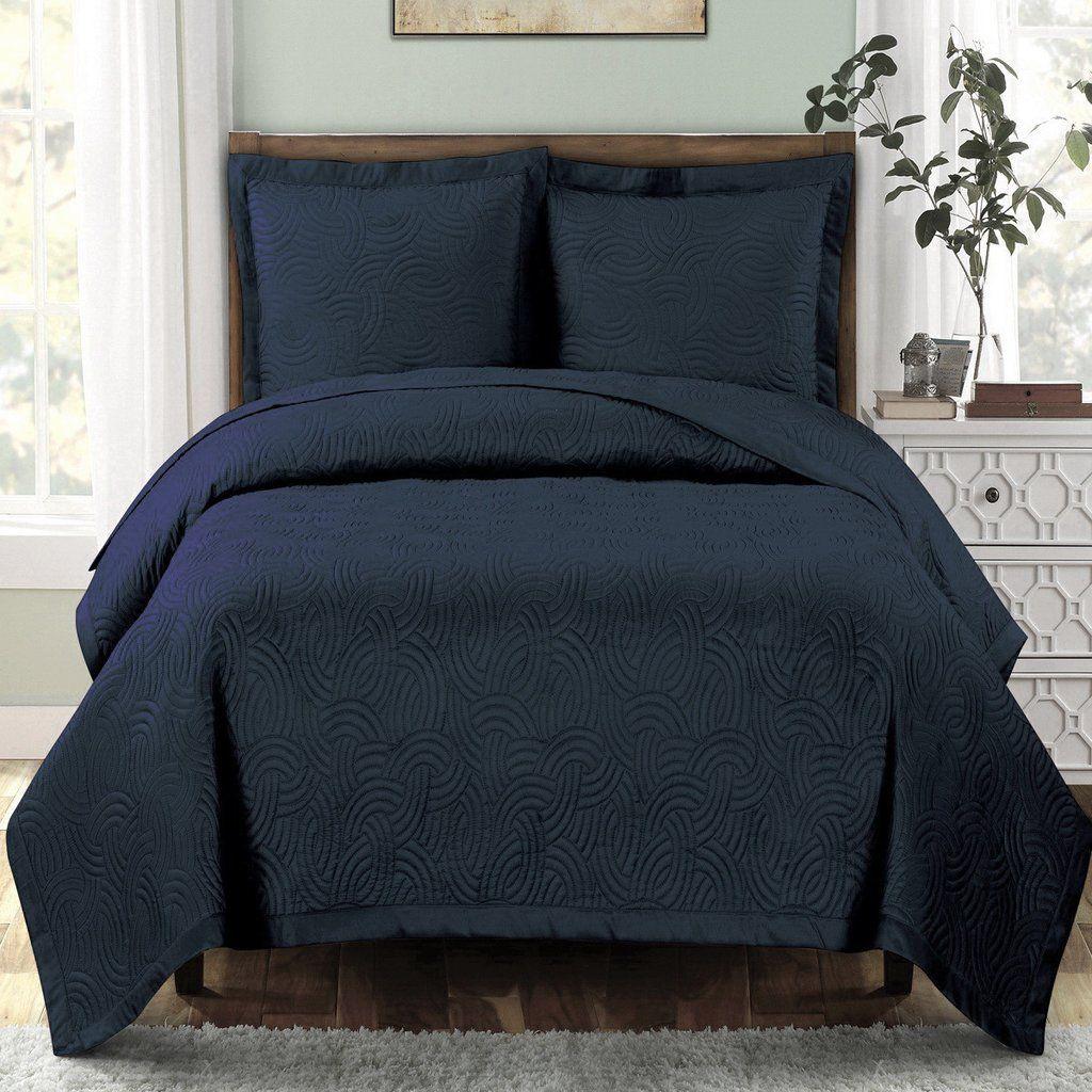 Modern Geometric Navy Blue Quilt Coverlet Set Oversized Quilted Coverlet Modern Bed Quilt Sets Bedding