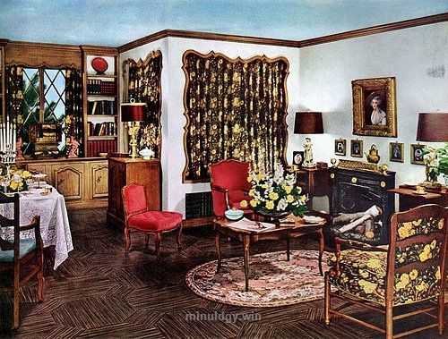 1950 home decor from a 1950 ad for armstrongs floor linoleum tagged 1950 - Linoleum Apartment Decor
