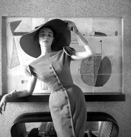 Photo by Georges Dambier, March 1954, Dorian Leigh, dress by Jacques Fath, Nouveau Femina.