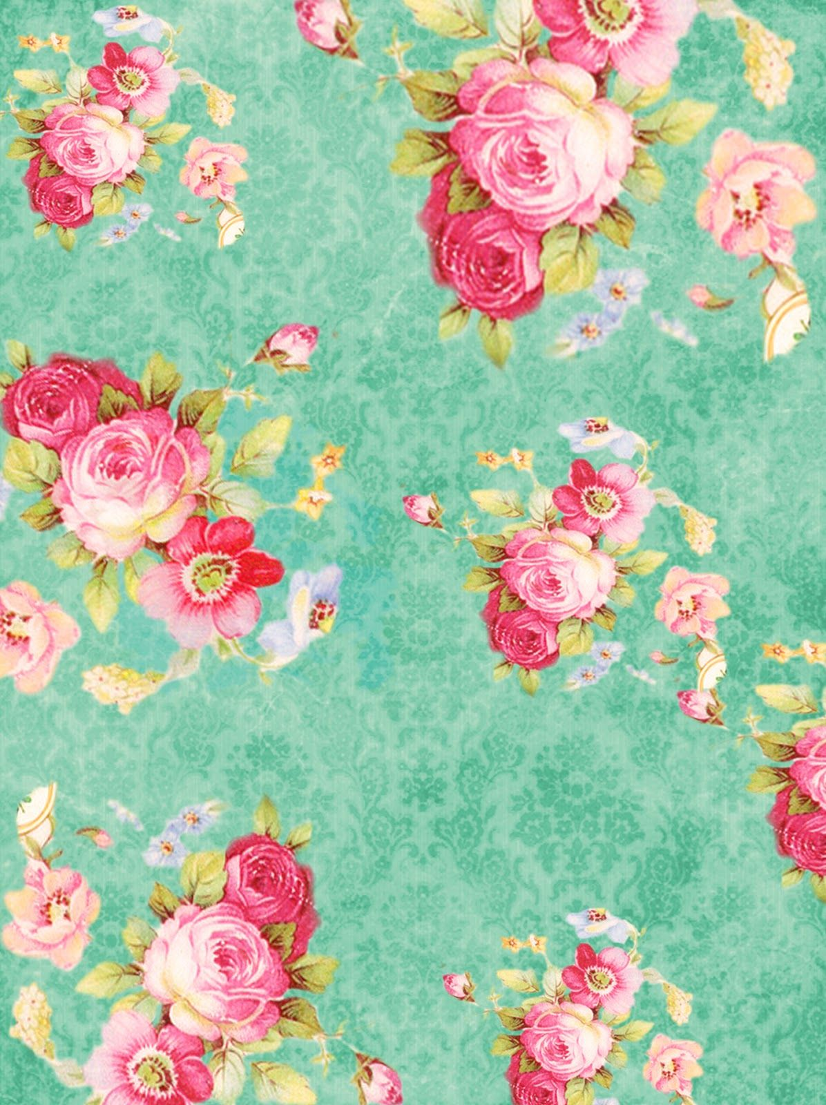 Craft A Doodle Doo The Freebie Jubilee Put Your Vintage On Vintage Flowers Vintage Roses Floral Wallpaper