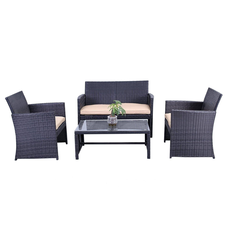 Patio Furniture Lynnwood Wa: ALEKO Indoor Outdoor Seattle Rattan 4 Piece Patio