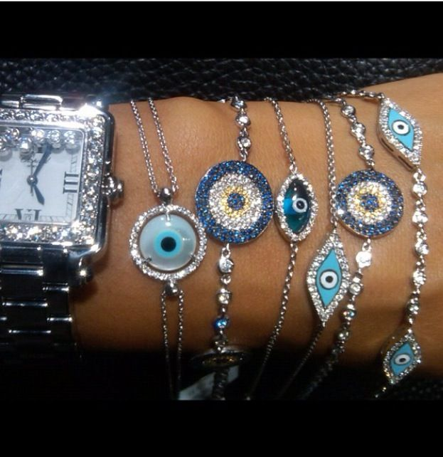 Glass Blue Beads Evil Eye Necklace for Women Fashion Cross Choker Necklaces