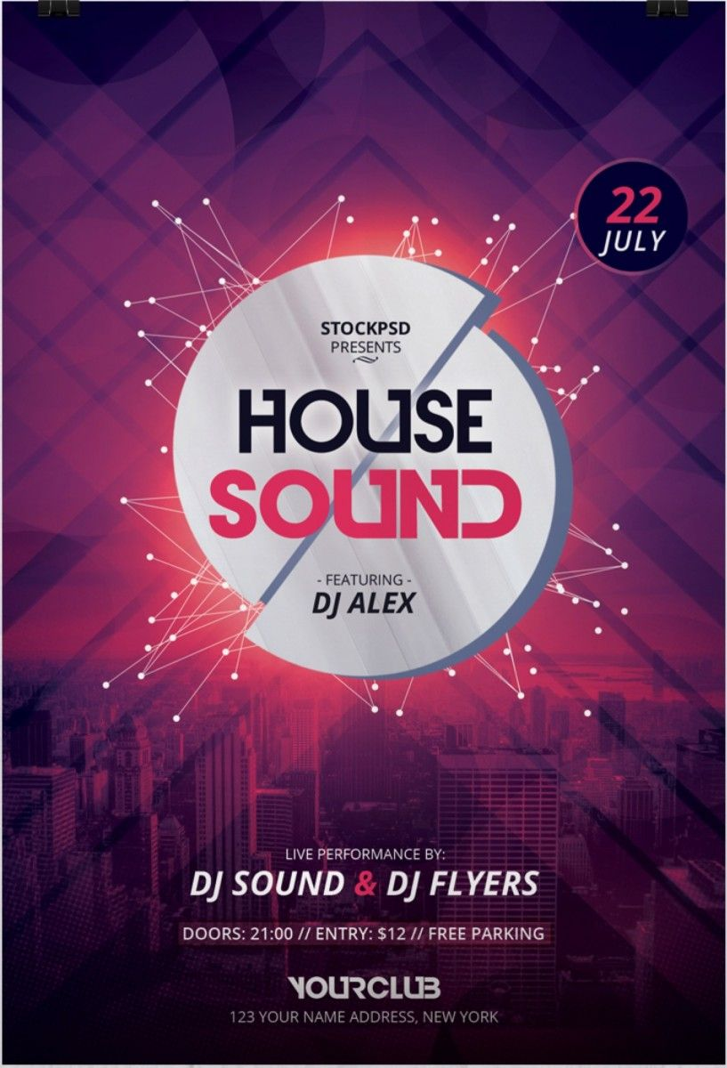 house sound is a free photoshop psd flyer template to