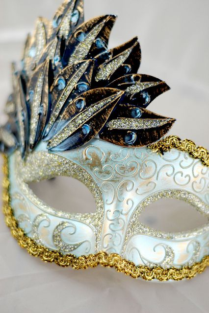 Prom//Ball. Venetian Silver  Metal Mask Filigree Masquerade Green Diamante Ball