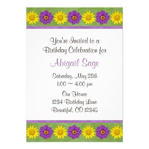 Green \ Purple Daisy Flower Birthday Invitation Daisy Birthday - fresh birthday invitation baby girl