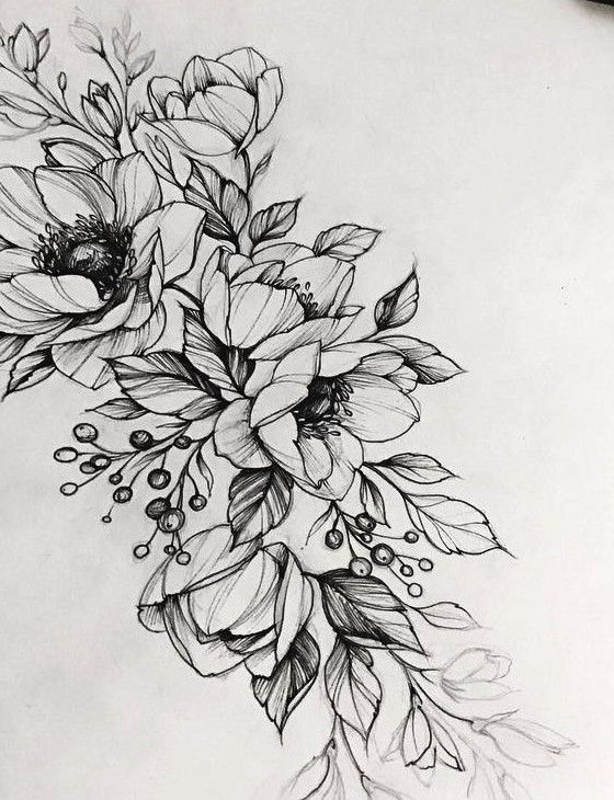 Чернобелый эскиз тату с цветами Grafik T228towierungen