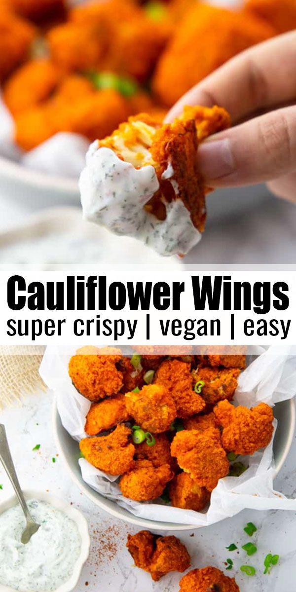 Crispy Cauliflower Buffalo Wings  #veganrecipes