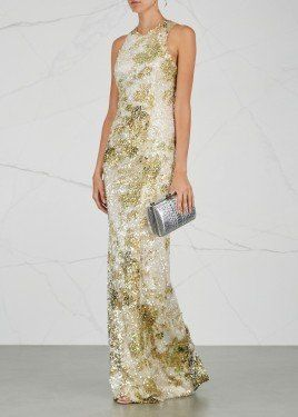 b2fb18f2d20 Chartreuse and white sequinned gown Harvey Nichols