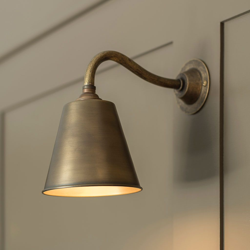 Club Wall Light in Antiqued Brass | Wall lights, Wall ...