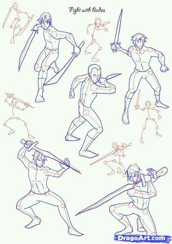 Stances Drawing People Sword Drawing Fighting Poses