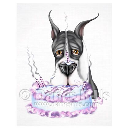 Great Dane Birthday Cake Face Mantle Crop from Danes-R-Us  Great