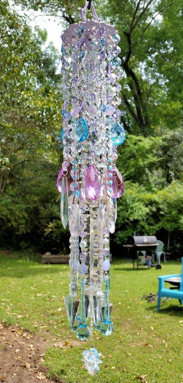 Lilac and Aqua Antique Crystal Wind Chime, Violet and Aqua Windchime ...