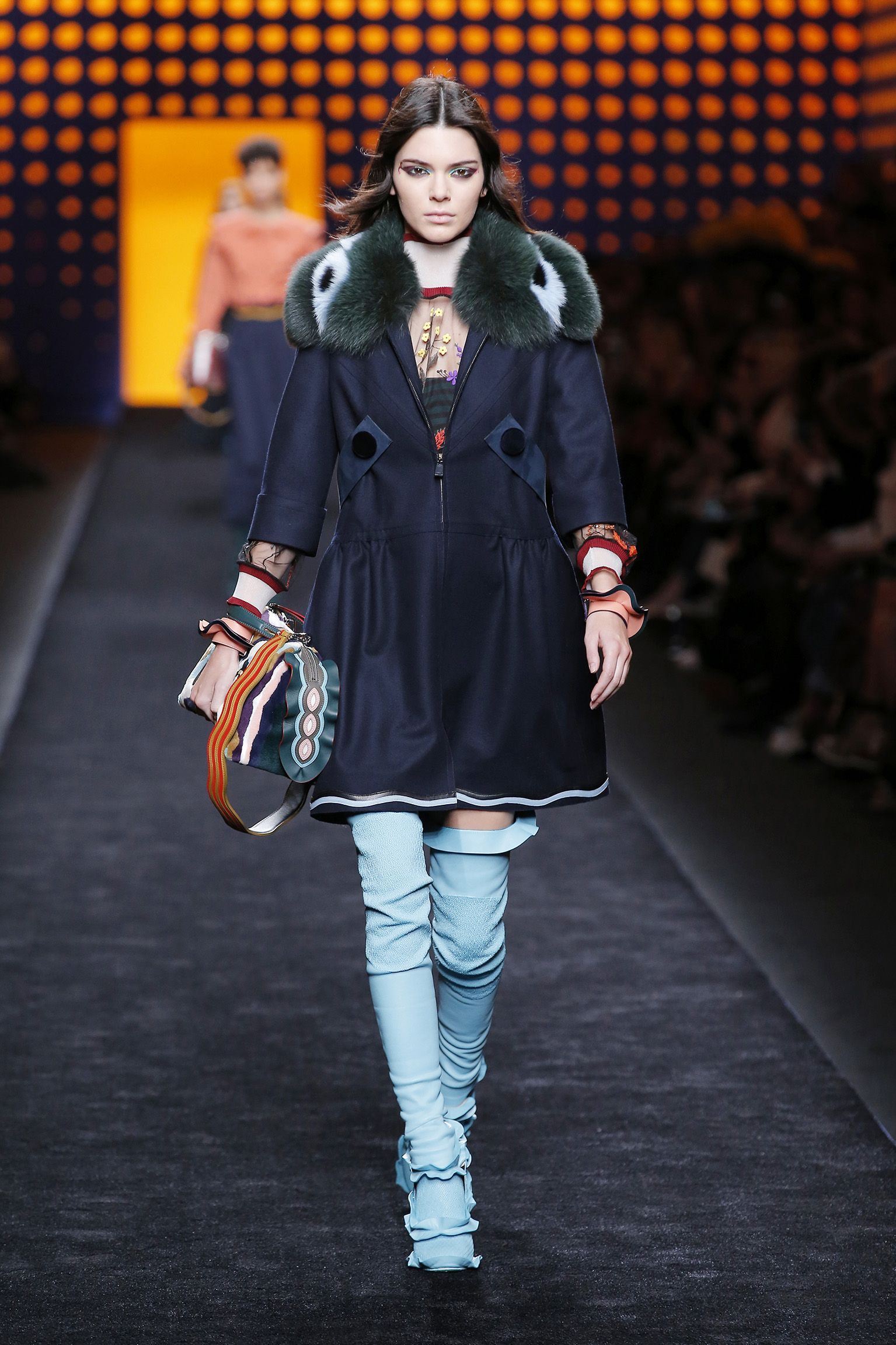 425e1db4f09d Kendall Jenner wears the opening look for the Fendi Fall Winter 2016-17  runway show.