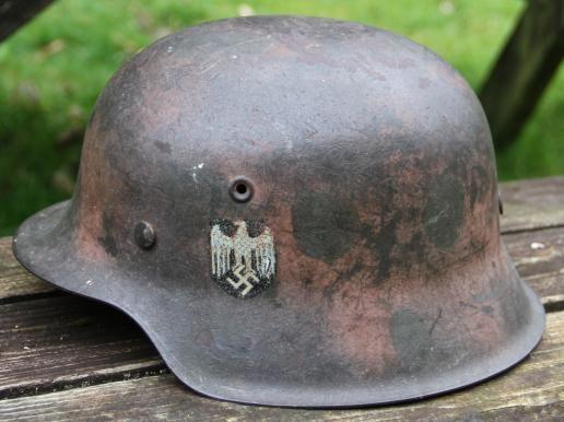 M42 GERMAN HELMET ARMY SINGLE DECAL 2 TONE CAMO German Helmet Headgear World War