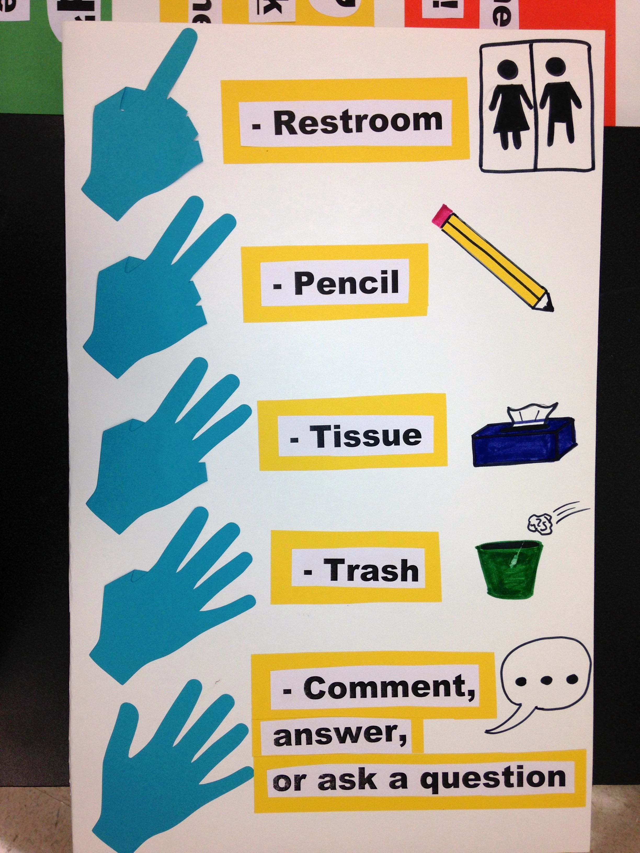 Hand signals for the classroom. Students can hold up a