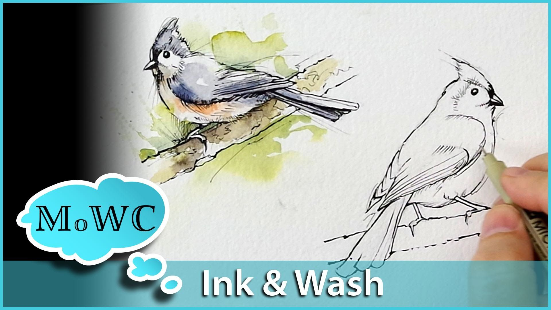 How To Paint Birds In Ink And Watercolor Wash Technique