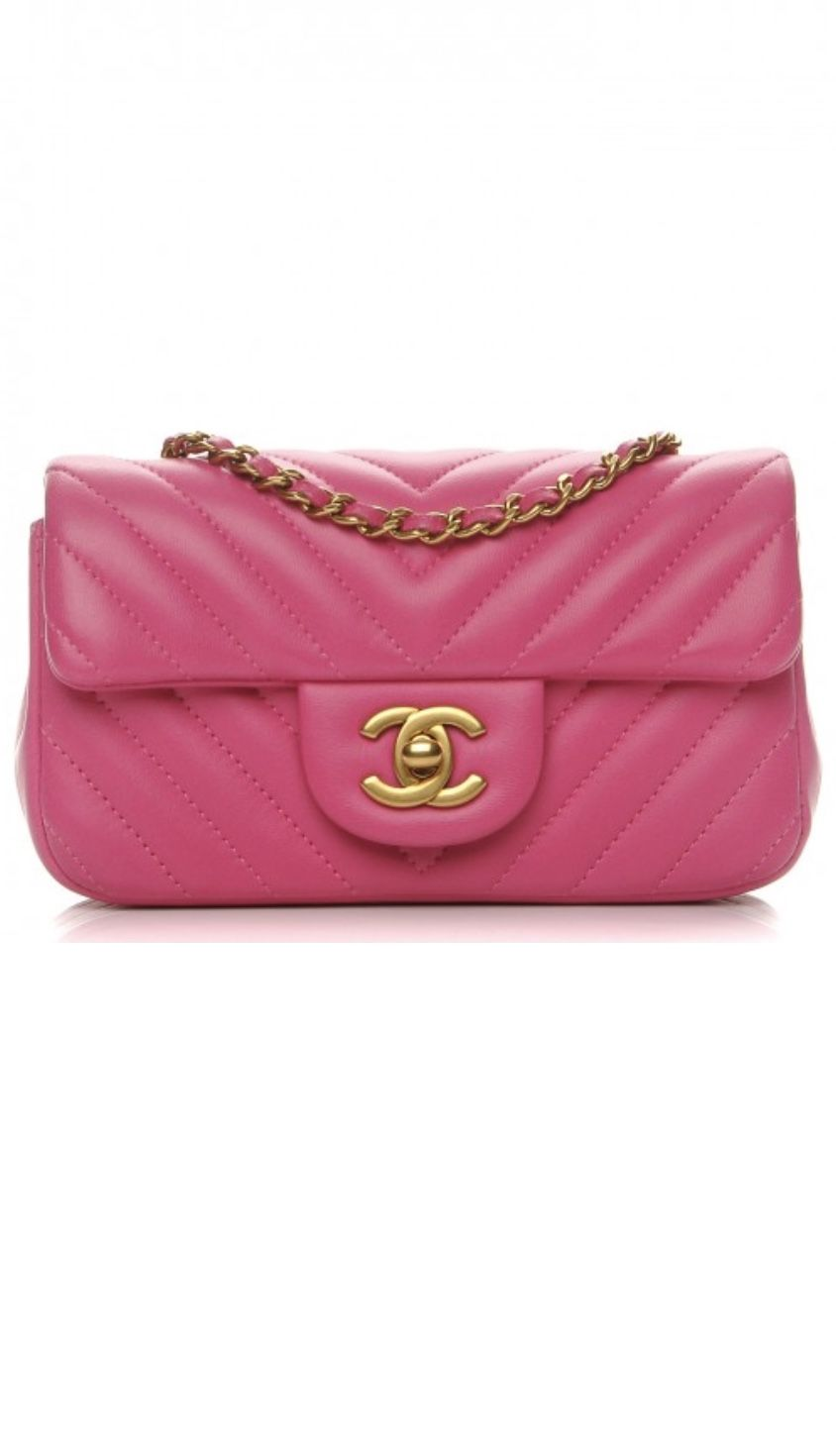 Chanel Lambskin Chevron Quilted Pink Extra Mini Flap Chanel Flap Chanel Shoulder Bag