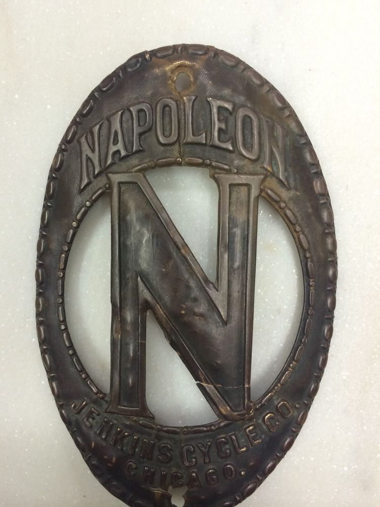 Napoleon Jenkins Bicycle Head Badge Bike Toc Antique Wood Rim Old