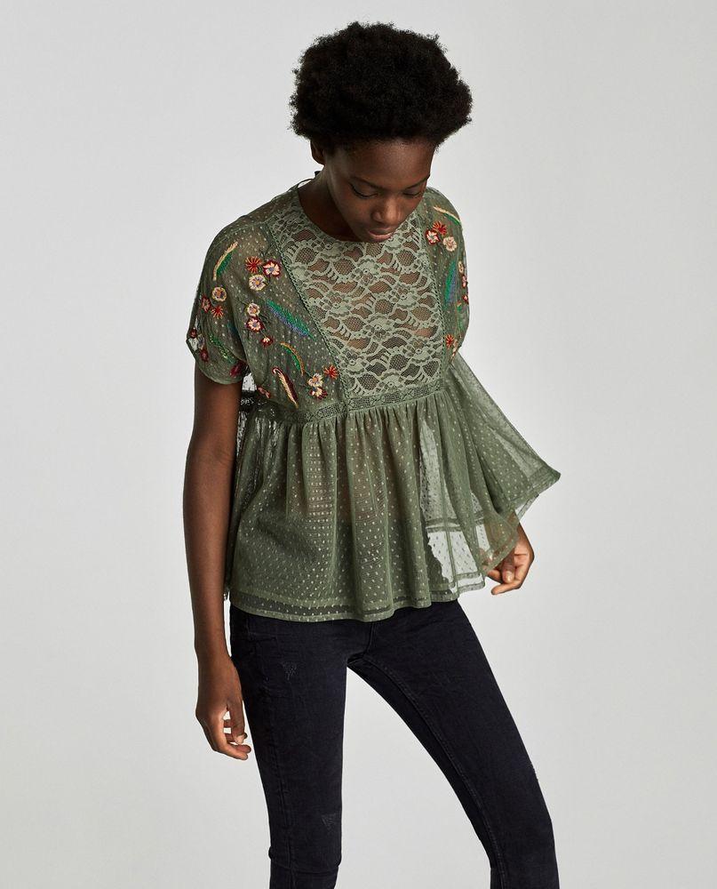 9b7173834f24 ZARA Basic Womens Embroidered Top Size Medium Plumetis Blouse Green Floral  Lace #Zara #Blouse #EveningOccasion