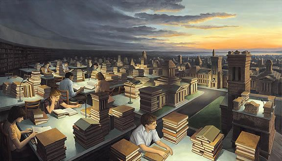 Rob Gonsalves, Towers of Knowledge. During his childhood, Rob Gonsalves developed an interest in drawing from imagination using various media. By age 12, his awareness of architecture grew as he learned perspective techniques and first began to paint renderings of imagined buildings.  In his post college years, Gonsalves worked full time as an architect.