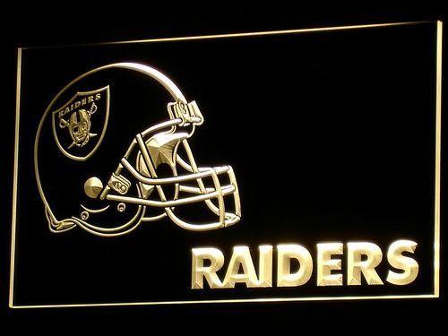 Oakland Raiders Helmet LED Neon Sign | Raiders helmet, Led
