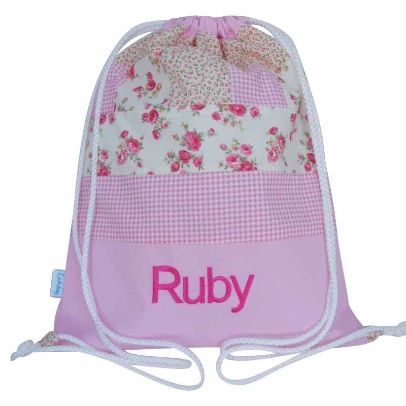 Personalised Pink Patchwork Swim Bag, Gym Bag, Drawstring Backpack ...