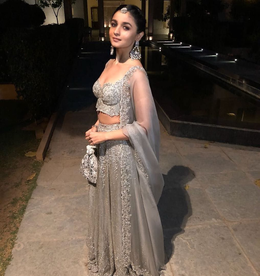 899b71b588 Alia Bhatt at her friend's wedding #grey #lehenga #silver #gorgeous ...