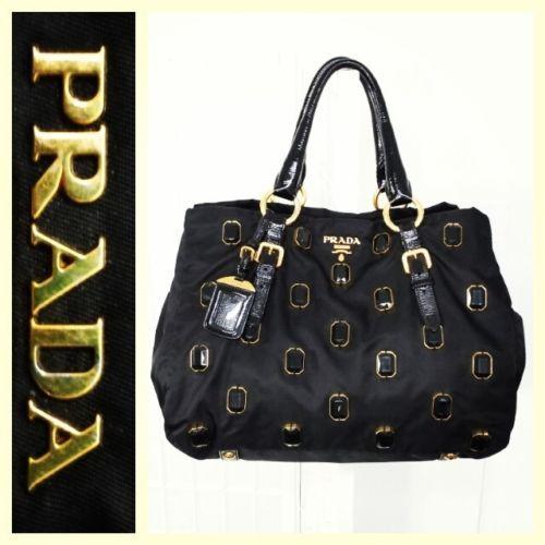 ba8fc3609864 Prada $1,350 black tessuto/nylon large/expandable 'Pietre' tote bag ...