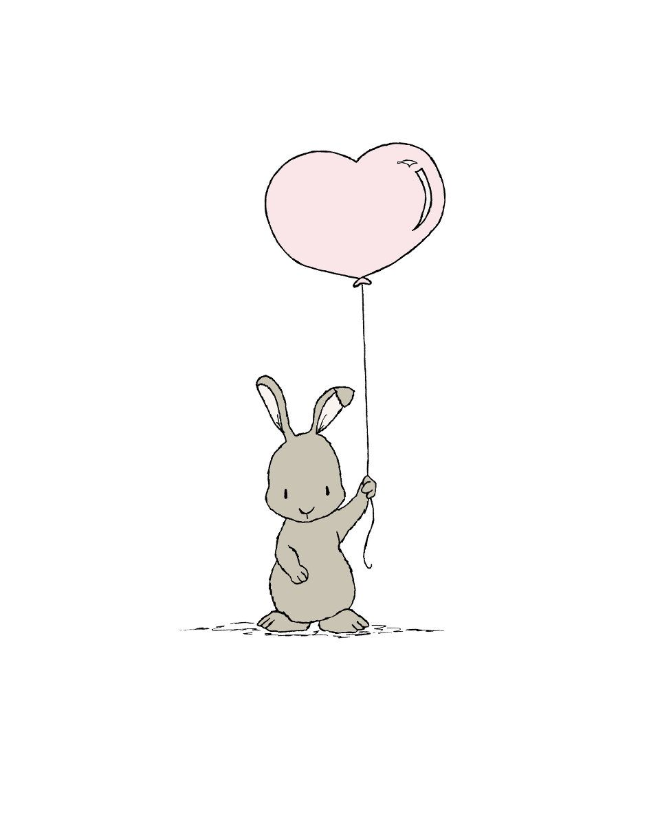 Waldland Kindergartenkunst--Bunny Heart Balloon--Bunny Nursery Art--Children Art--Kids Wall Art