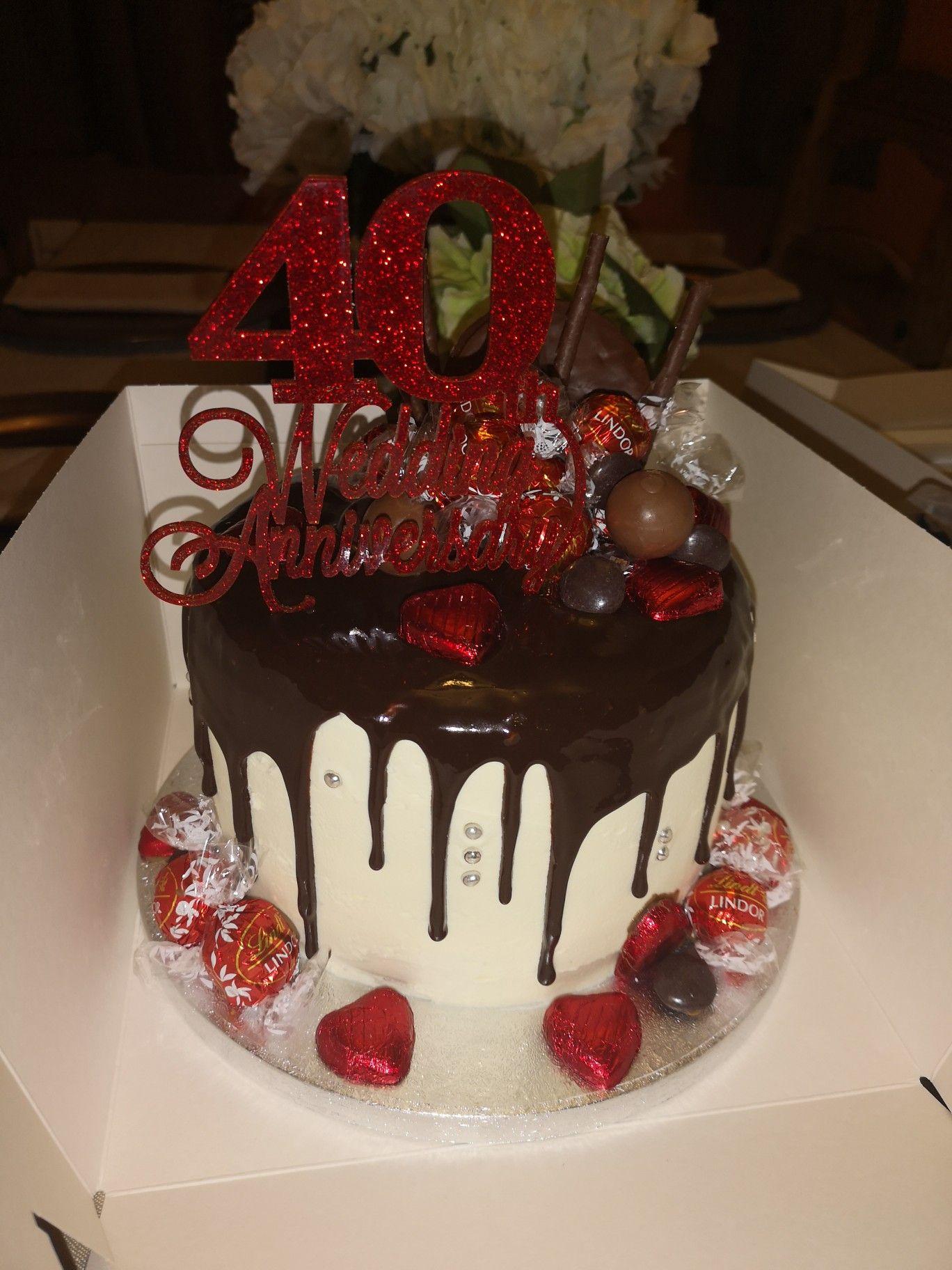 40th Wedding Anniversary Drip Cake 40th Anniversary Cakes 40th